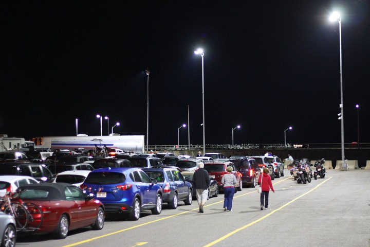 It was 2 AM in the ferry parking lot, but the waiting passengers were ready to party hearty.
