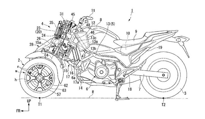 Un tricycle Honda qui s'incline