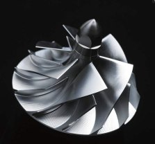 The H2R supercharger impeller has six blades at its tip, expanding to 12 at its base.