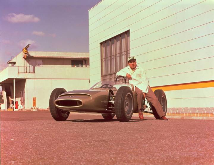 Soichiro with the 1963 Honda Formula One car