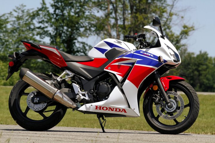 The CBR300 is based on the previous-generation CBR250. It has the smallest engine of the bunch.