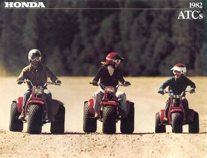 Fun for the whole family. Until, you know, it isn't. 1982 Honda ATC advertising promises gentle off road adventure