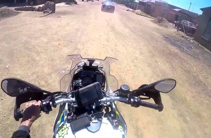 Video: South African cop resorts to motorcycle gunplay