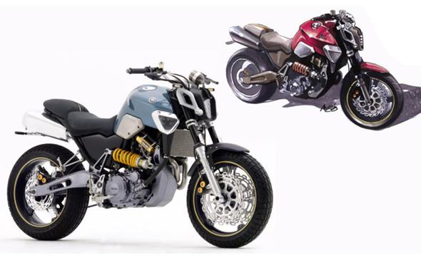 2003 Yamaha MT-03 concept sketch and presentation model. Born from a sleep deprived wander through Tokyo. Image : Yamaha