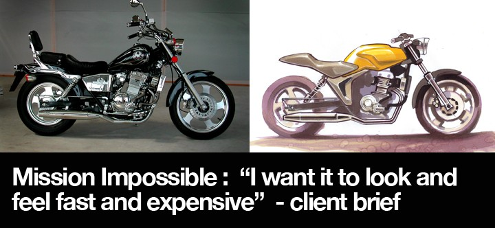 Above left : a generic copy of the Rebel 250; above right : my proposal for it's replacement based on the client's wish list.