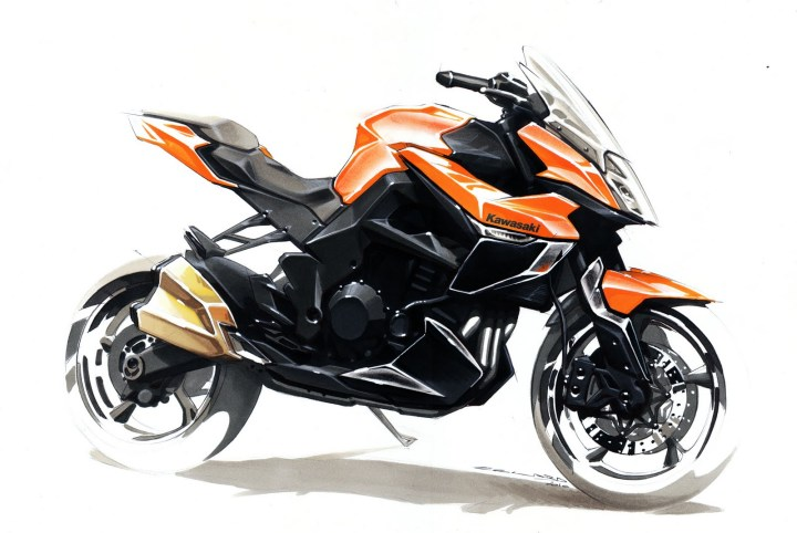 "Fast. Expressive. Provocative. This kind of design sketch is called a ""persuasion"" rendering. Its role is to convey a broad theme rather than a detailed final design. Image : Kawasaki"
