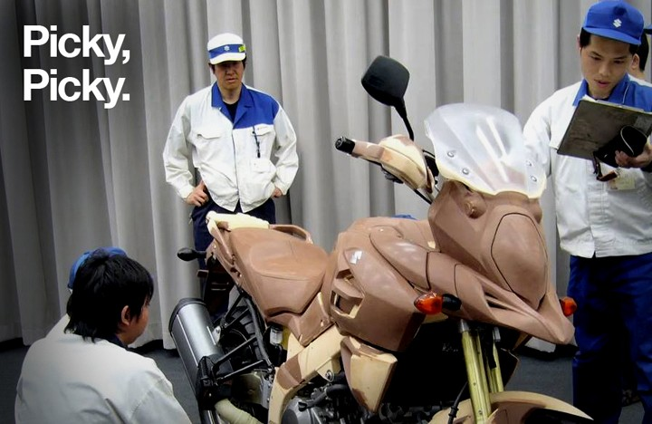 Suzuki engineers give the V-Strom 1000 clay model the once over. Image : Suzuki