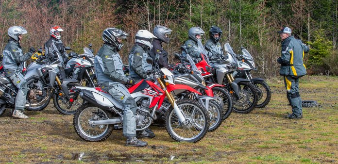Before we were allowed to get reckless on the Africa Twin we all had to do a training session with Clinton Smout. I'm the gorilla at the front on the CRF250L And yes, everyone is wearing matching Klim gear. They came to the launch and kitted everyone out.