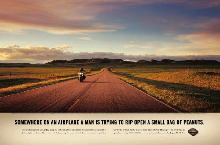 Another sunset ad, but it does communicate the low stress joy of cruising on a Harley-Davidson