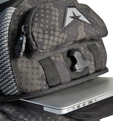Laptop pouch is accessed from the bottom but comes with strap to ensure it doesn't crash to the floor