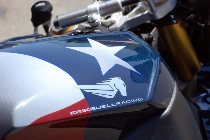 Tinted, clear-coated carbon fibre body wearing the flag made the EBR 1190 RS rare indeed.