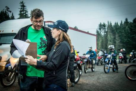 Who's doing what now? Courtney and Rob go over rally details at the 2015 Fundy event.