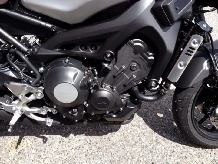 Traction control and an adjustable slipper clutch are the difference between the XSR900 engine and the standard FZ-09.