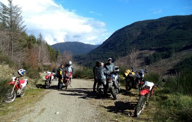 Rob (far right) with Bondo and the rest of the journo crew on the Africa Twin launch this spring.