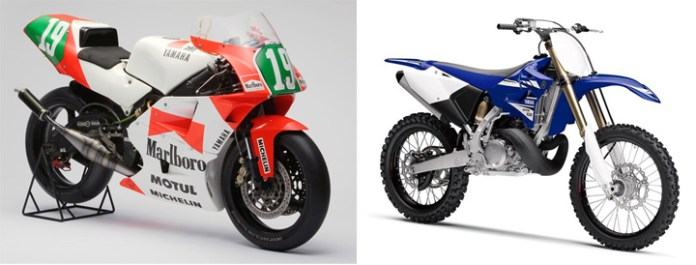 Other than being racing machines, the Yamaha YZR250 (left) and YZ250R (right) have nothing in common.
