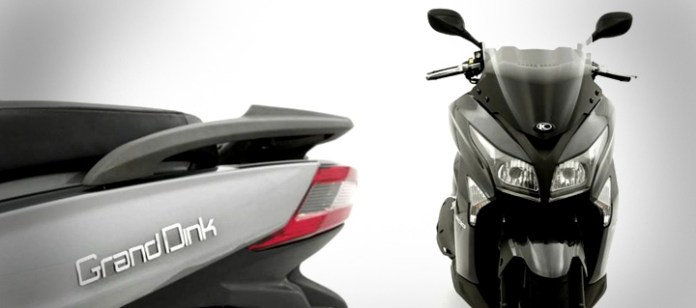It is hard not to snigger, despite the technical and styling sophistication of the Kymco Grand Dink.