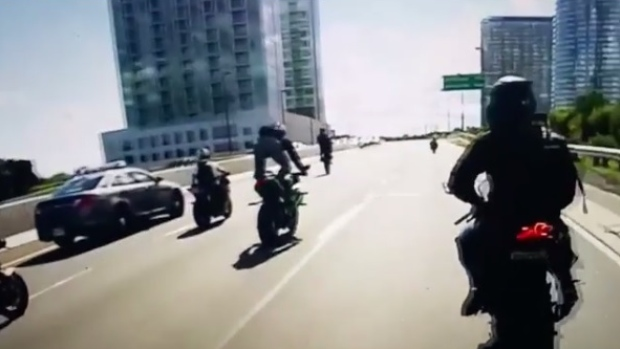 Video shows GTA bike mob trolling police