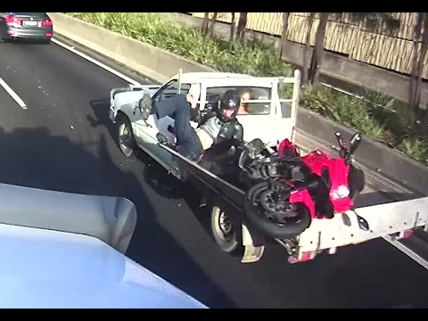 Bike vs. truck: Another lucky rider