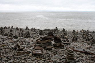 This creepy inukshuk army on the beach looked like a project of some weird backwoods NB death cult.