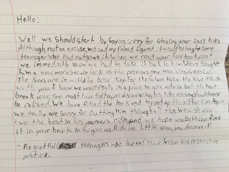 BC boy sees stolen motorcycle returned with note of apology