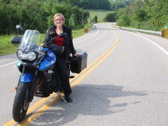 Liz Jansen with her Triumph Tiger.