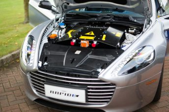 Under the hood of the Aston-Martin RapidE was not what we're used to seeing.