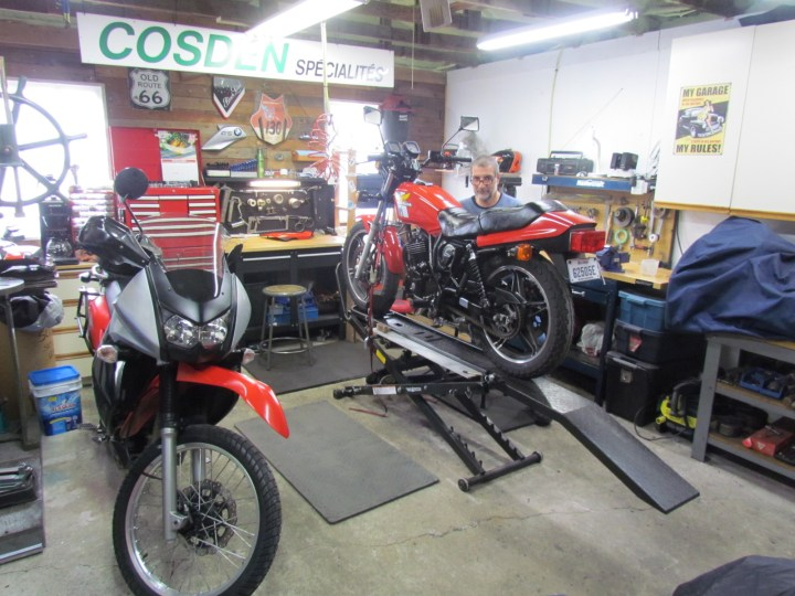 Laying low with my motorcycles
