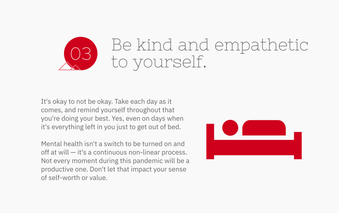 be kind and empathetic to yourself - mental health is not a switch to be turned on or off at will