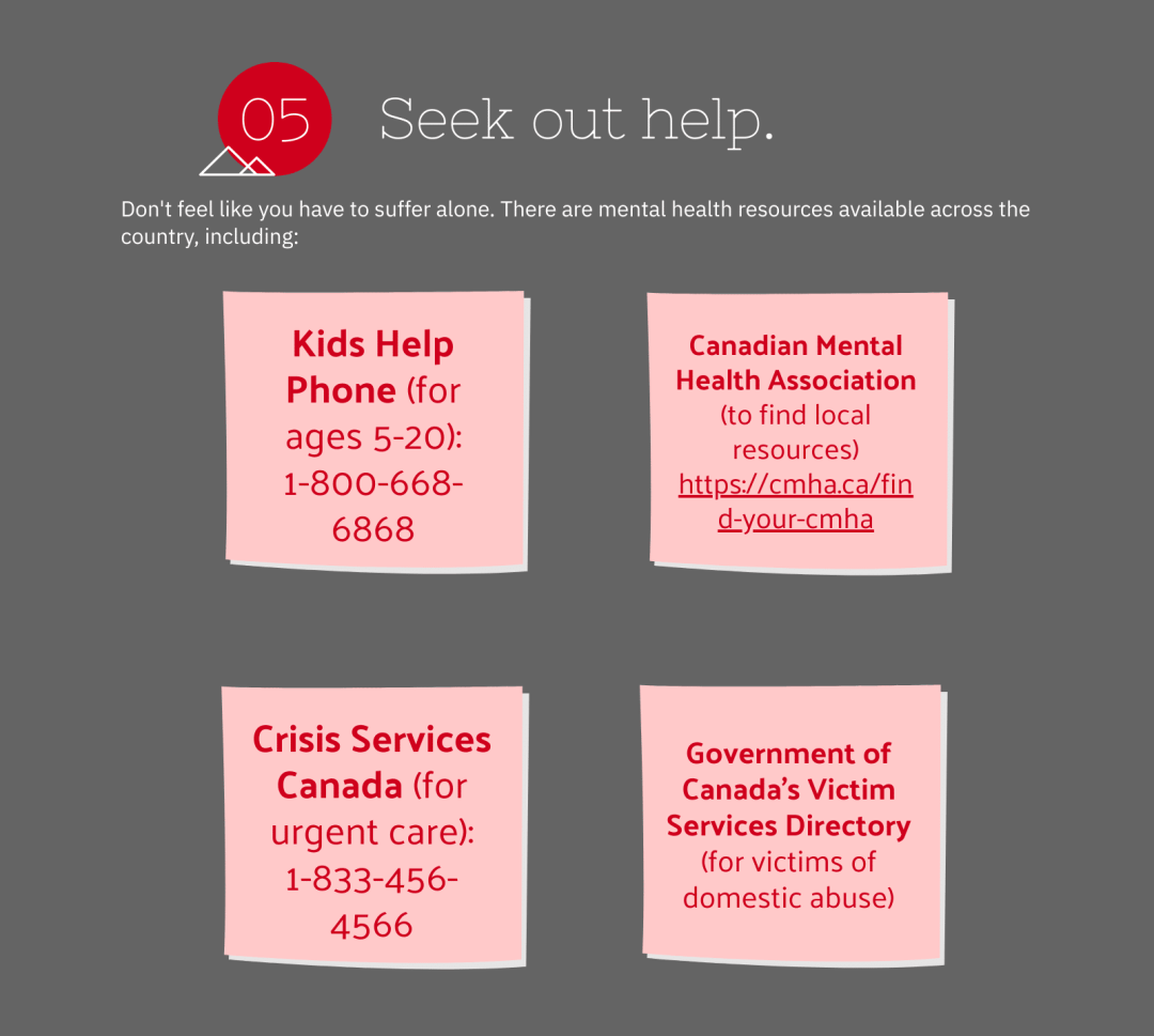 seek out help - mental health resources are available across the country!