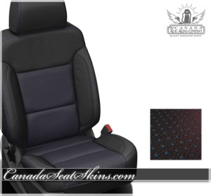 2017 Silverado Black Barracuda Blue Leather Seats