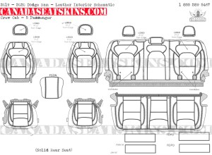 2019 - 2020 Ram Crew Cab Katzkin Leather Interior Schematic - 5 Passenger - Solid Rear Seat