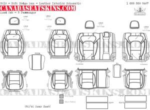 2019 - 2020 Ram Quad Cab Katzkin Leather Interior Schematic - 5 Passenger - Split Rear Seat