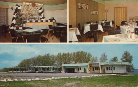 Motel Lac St-Jean, Quebec; Card notes Modern Motel, TV, Radio, Lounge