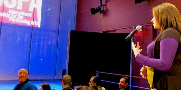 Theatre Local's Rebecca Singh asks a question, Incubator Theatre's Arik Eshet looks on. Photo: Adham Hafez