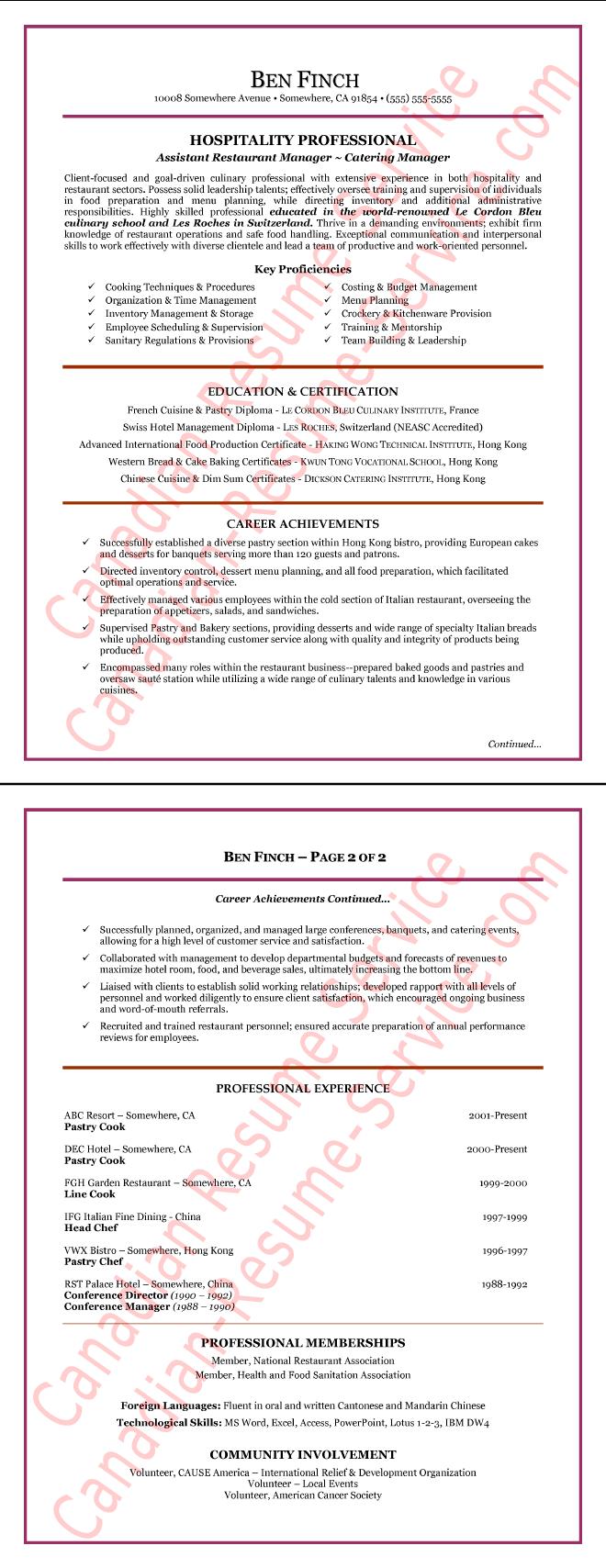 Hospitality Manager Resume Example Sample  Hospitality Resume Examples