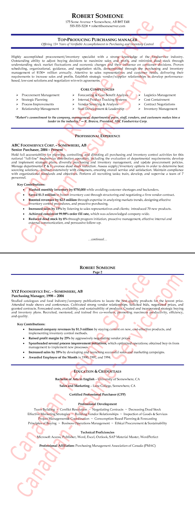 example of a purchasing manager resume