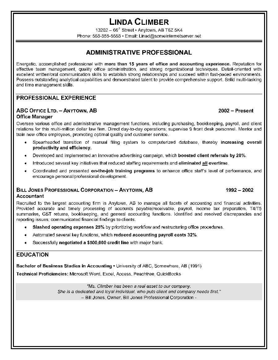Administrative Assistant Resume Sample Personal Assistant Resume ...
