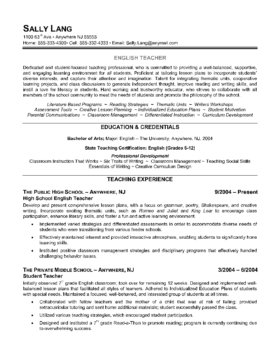 free teaching resume templates newsound co