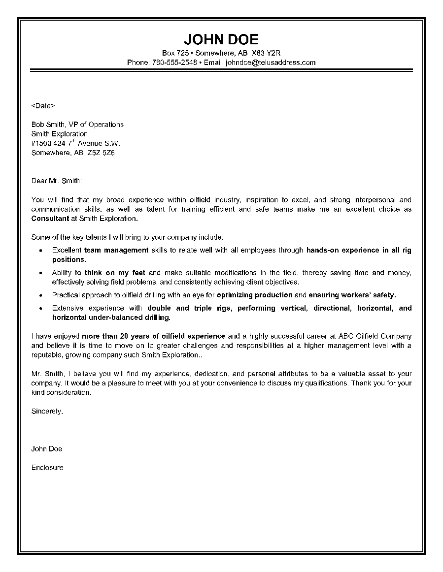 Drilling Supervisor Cover Letter business intelligence specialist ...