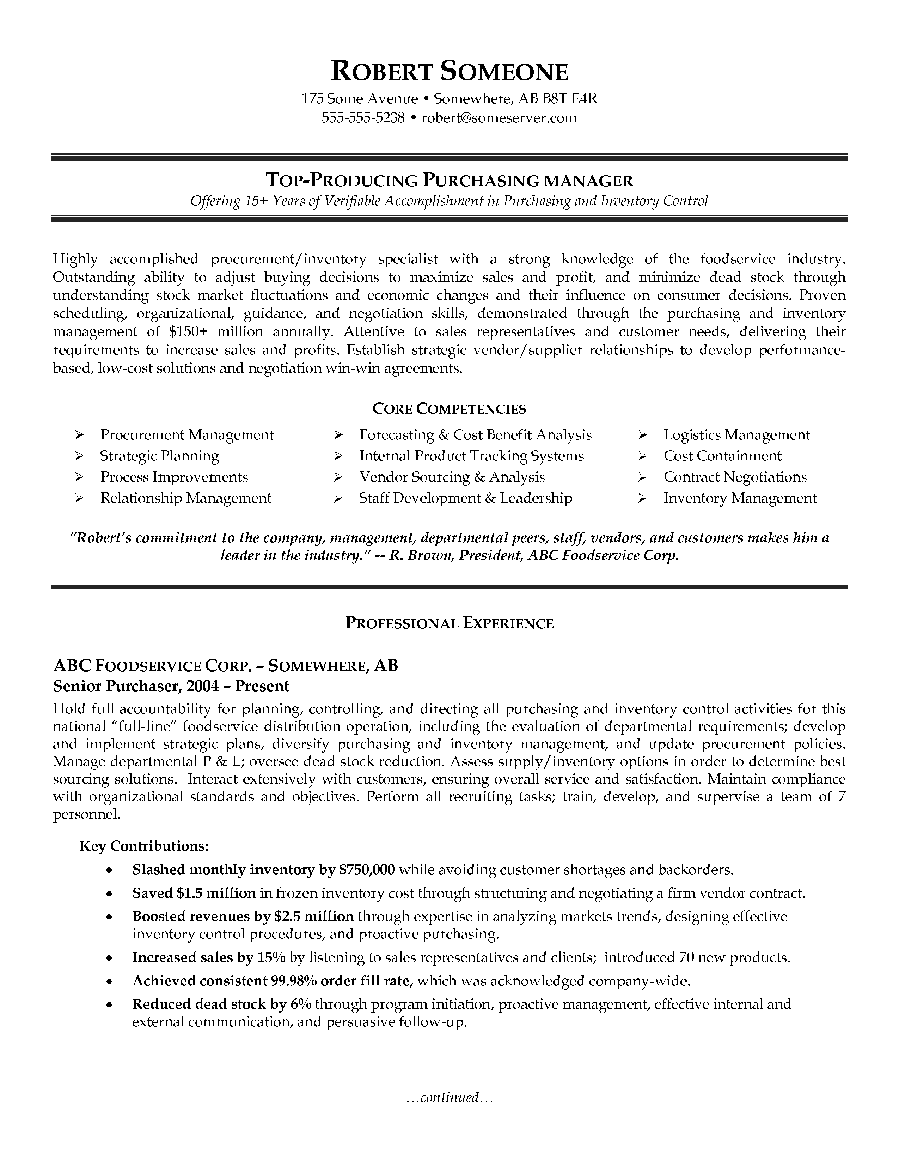 canadian resume servic purchasing manager resume example