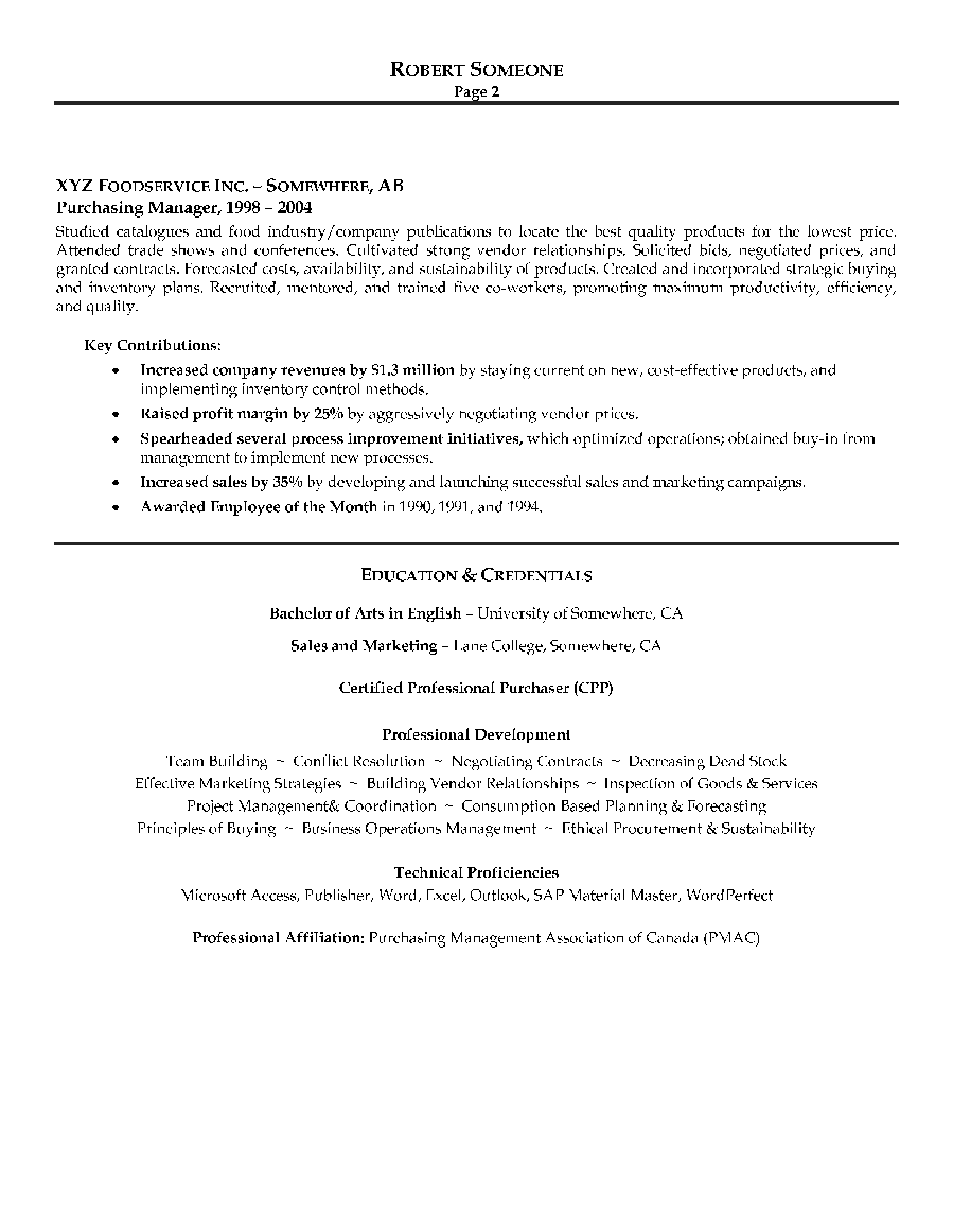 purchasing manager resume sample page 2 canadian resume writing