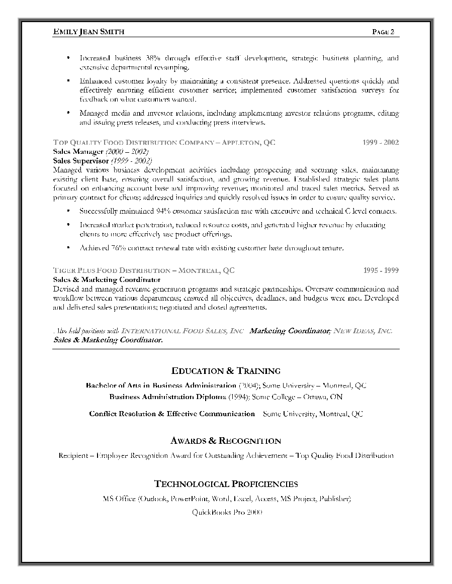 sales marketing example page 2