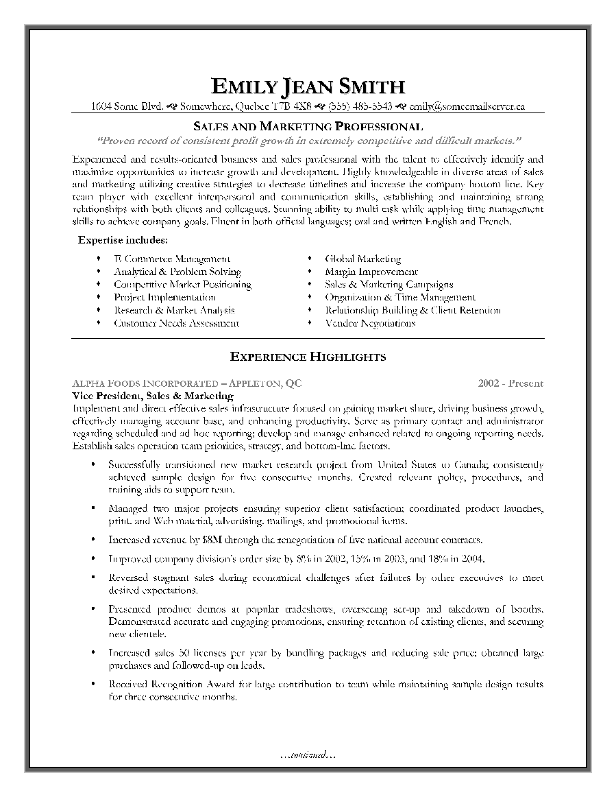 sales marketing resume sample page 1