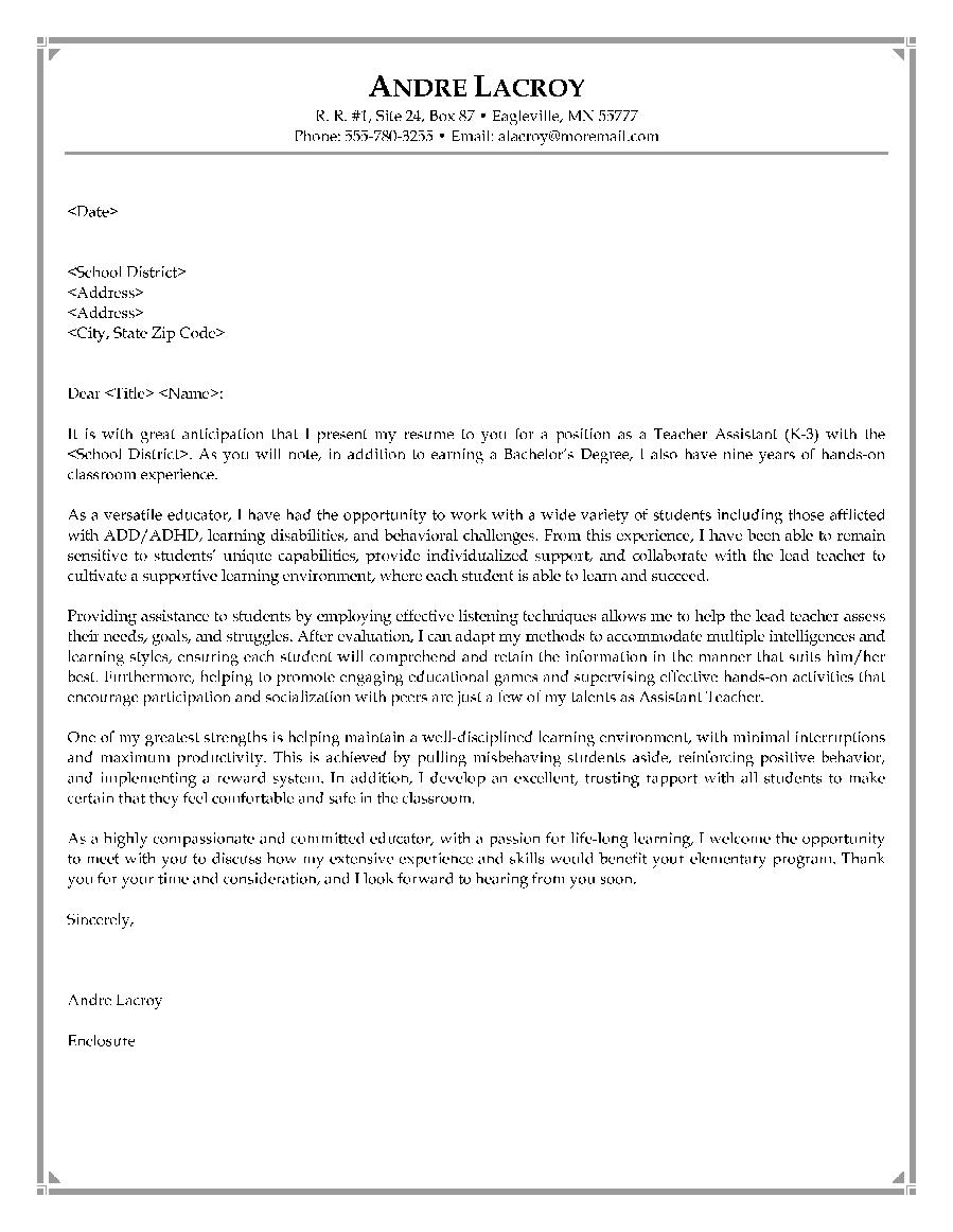Sample Of Teacher Cover Letter Resume Job Application Example