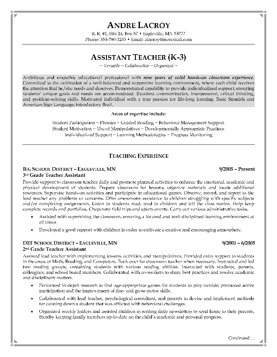 student teacher resume sample teaching student sample resume – Instructional Assistant Resume