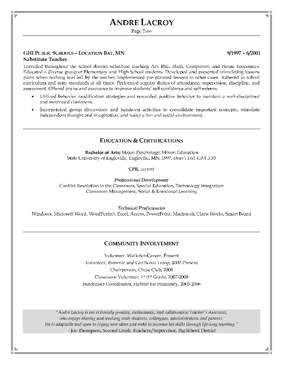 Doc.#554739: Sample Resume Teaching Position – Resume Samples For ...