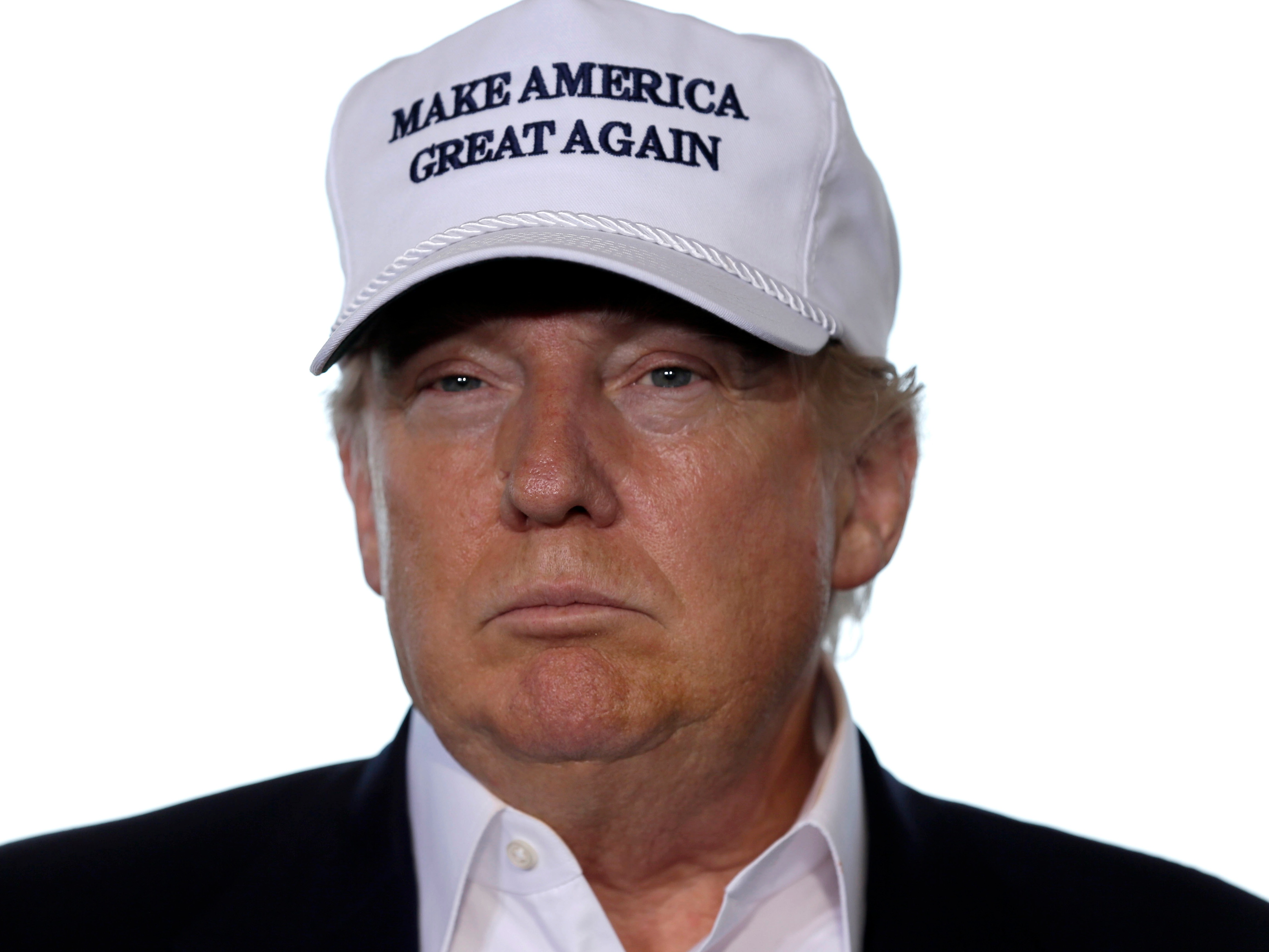 "[A photo of Donald Trump wearing a ""Make America great again"" hat.]"