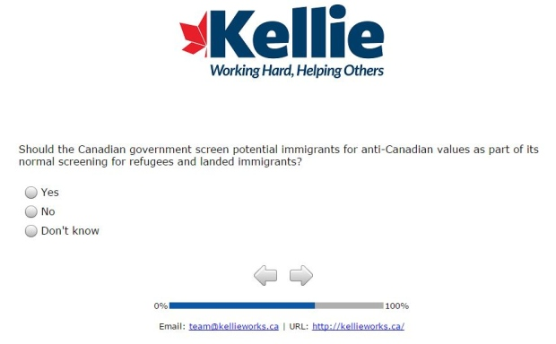 [Screen capture of a question in Kellie Leitch's survey: Should the Canadian government screen potential immigrants for anti-Canadian values as part of its normal screening for refugees and landed immigrants? (Yes/No/Don't know)]