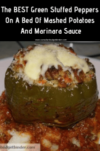 • Cost per Stuffed Pepper Meal per person-$2.00 each • Cost for us to make this Meal: Approx $20.00 including mashed potatoes and marinara • Peppers x 10 were on the reduced rack $1.59 pack of 5~ There was NOT one thing wrong with these HUGE peppers! • Meat was in the reduced section minced chicken $2.00 pack • Sausages were also reduced $1.50 pack of 6 • All other ingredients were purchased on sale.