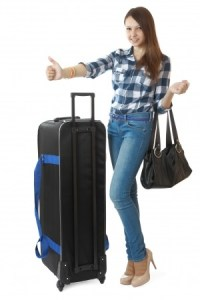 woman with packed luggage
